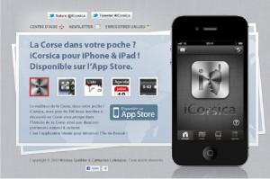 La page d'accueil du site de l'application iCorsica. (Copie d'écran)
