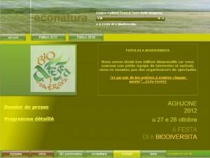 Le site d'Econatura, organisateur de la fête de la biodiversité d'Aghione. (copie d'écran).