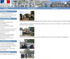 Le site de la préfecture de la Corse-du-Sud annonce à sa une la destruction du restaurant à Porticcio. (copie d'écran)
