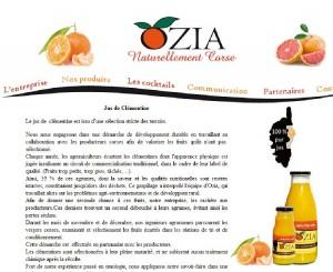 La présentation du jus de clémentine corse sur le site d'Ozia. (copie d'écran)