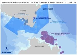 La carte de localisation du Parc Maritime International des Bouches de Bonifacio. (DR)