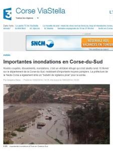 Le site de France 3 Corse relate les inondations qui ont frappé la Corse-du-Sud ce lundi. (copie d'écran)