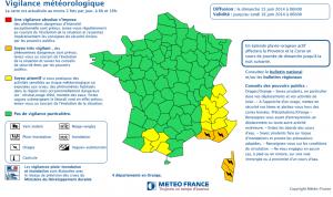 Les départements corses sont placés en alerte orange. (doc Météo France)