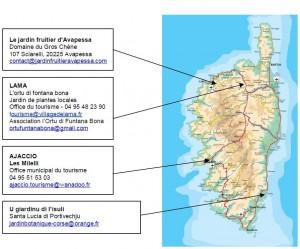 """La carte des sites participants à l'opération """"Rendez-cous aux jardins"""" en Corse. (DR - Direction régionale des Affaires culturelles)"""